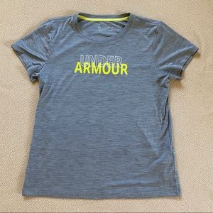 🤍Gray & Yellow Under Armour Top🤍